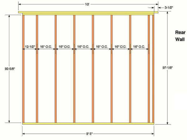 10x12 Storage Shed Plans 07 Rear Wall Frame