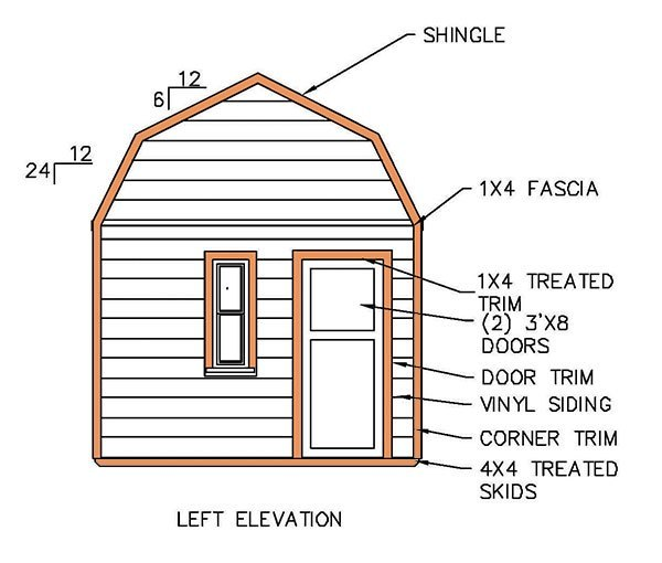 12 215 16 Gambrel Shed Plans Amp Blueprints For Barn Style Shed